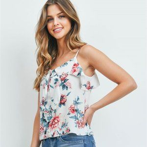 New! Women's Sleeveless Ivory floral print top